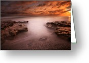San Diego California Greeting Cards - Seaside Reef Sunset 3 Greeting Card by Larry Marshall