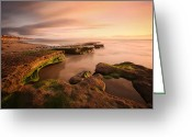 San Diego Greeting Cards - Seaside Reef Sunset Greeting Card by Larry Marshall