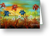 Flower Photographs Painting Greeting Cards - Season Flowers Greeting Card by Uma Devi
