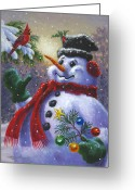 Red Bird Greeting Cards - Seasons Greetings Greeting Card by Richard De Wolfe