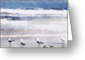 Seagulls Greeting Cards - Seaspray Greeting Card by Holly Kempe