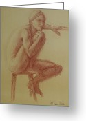 Residential Drawings Greeting Cards - Seated at the Barre Greeting Card by Sarah Parks