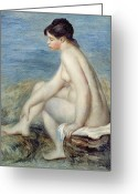 Pierre Auguste (1841-1919) Greeting Cards - Seated Bather Greeting Card by Renoir