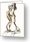 Figurative Mixed Media Greeting Cards - Seated female Nude Greeting Card by Roz McQuillan
