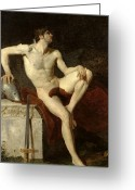 Sat Greeting Cards - Seated Gladiator Greeting Card by Jean Germain Drouais