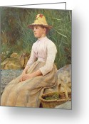 Pensive Greeting Cards - Seated Lady Greeting Card by Edwin Harris