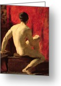 Curtain Greeting Cards - Seated Male Model Greeting Card by William Etty