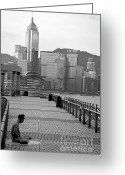 Flexibility Greeting Cards - Seated man practicing yoga with view of skyline in the background Greeting Card by Sami Sarkis
