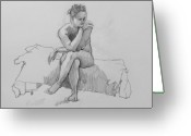 Nudes Drawings Greeting Cards - Seated Nude 2 Greeting Card by Robert Bissett
