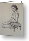 Nudes Drawings Greeting Cards - Seated Nude 3 Greeting Card by Donelli  DiMaria
