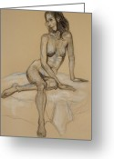 Nudes Drawings Greeting Cards - Seated Nude 4 Greeting Card by Donelli  DiMaria