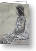 Short Sleeves Greeting Cards - Seated Woman in a White Dress and Straw Hat Greeting Card by Asha Carolyn Young