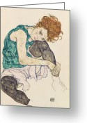 Expressionist Greeting Cards - Seated Woman with Bent Knee Greeting Card by Egon Schiele