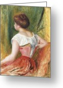 Hair Bun Greeting Cards - Seated Young Woman Greeting Card by Pierre Auguste Renoir