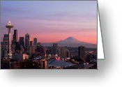 Communications Tower Greeting Cards - Seattle Greeting Card by Aaron Morris