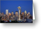 Skylines Photo Greeting Cards - Seattle at Dusk Greeting Card by Adam Romanowicz
