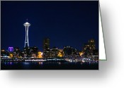 Seattle Skyline Greeting Cards - Seattle at Night Greeting Card by Rich Leighton