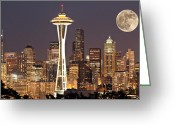 Seattle Skyline Greeting Cards - Seattle At Night With Moon Greeting Card by Paul Fell