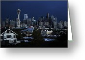 Seattle Skyline Greeting Cards - Seattle Blues Greeting Card by Benjamin Yeager