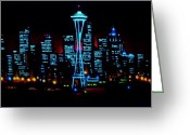 Skylines Painting Greeting Cards - Seattle by black light Greeting Card by Thomas Kolendra