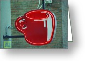 Americana Greeting Cards - Seattle Coffee Shop Greeting Card by Frank Romeo