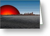 Seattle Skyline Greeting Cards - Seattle Dawning 2 Greeting Card by Tim Allen