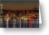 Seattle Waterfront Greeting Cards - Seattle Downtown Skyline From Alki Beach Dawn Greeting Card by David Gn Photography