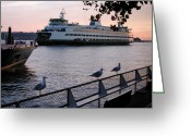 Seattle Waterfront Greeting Cards - Seattle Ferryboat Greeting Card by Kathi Shotwell