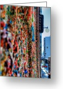 Tonemapped Greeting Cards - Seattle Gum Wall Greeting Card by Spencer McDonald