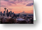 Seattle Greeting Cards - Seattle In Pink Greeting Card by Aaron Eakin