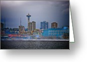 Seattle Skyline Greeting Cards - Seattle Greeting Card by Jim DeLillo