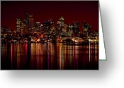 Seattle Waterfront Greeting Cards - Seattle Nightscape Greeting Card by Rich Leighton