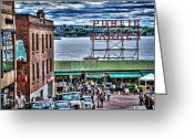 Tonemapped Greeting Cards - Seattle Public Market II Greeting Card by Spencer McDonald