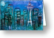 Skyscraper Mixed Media Greeting Cards - Seattle Skyline 2 Greeting Card by Melisa Meyers