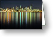 Washington Greeting Cards - Seattle Skyline At Night Greeting Card by Hai Huu Thanh Nguyen