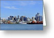 Seattle Skyline Framed Prints Greeting Cards - Seattle skyline from Puget sound Greeting Card by Angelito De Jesus