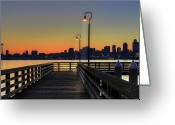 Illuminated Greeting Cards - Seattle Skyline From The Alki Beach Seacrest Park Greeting Card by David Gn Photography