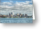 Lake Union Greeting Cards - Seattle Skyline Greeting Card by Kyla Applegate