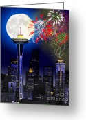 "\\\""photo Manipulation\\\\\\\"" Greeting Cards - Seattle Skyline Greeting Card by Methune Hively"