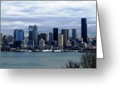 Seattle Skyline Greeting Cards - Seattle Skyline On A Cloudy Day Greeting Card by Judyann Matthews
