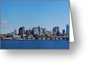 Puget Sound Greeting Cards - Seattle Skyline Panorama Greeting Card by Twenty Two North Gallery