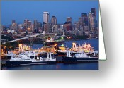 Seattle Skyline Greeting Cards - Seattle Skyline Greeting Card by Patricia Betts