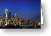 Travel Destinations Greeting Cards - Seattle Skyline Greeting Card by Sebastian Schlueter (sibbiblue)