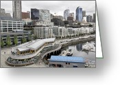 Seattle Skyline Greeting Cards - Seattle Skyline  Wharf Greeting Card by Nathan Mccreery