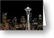 Communications Tower Greeting Cards - Seattle Skyline With Space Needle Greeting Card by Tim Ford