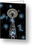 Seattle Greeting Cards Greeting Cards - Seattle Space Needle Blue Stars Greeting Card by Chalet Roome-Rigdon