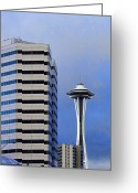 Seattle Framed Prints Greeting Cards - Seattle Space Needle Greeting Card by Ron Roberts