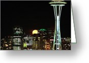 Seattle Skyline Greeting Cards - Seattle Super Moon Greeting Card by Benjamin Yeager