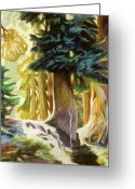 Washington Pastels Greeting Cards - Seattle Trees Greeting Card by Gina Blickenstaff