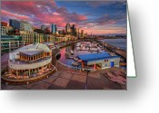 Seattle Waterfront Greeting Cards - Seattle Waterfront At Sunset Greeting Card by Photo by David R irons Jr
